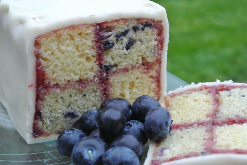 Blueberry & Vanilla Battenberg