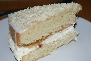 Beautiful Victoria Sponge with Cardamom, Rose Cream and Rhubarb