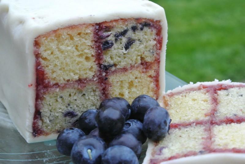 Blueberry & Vanilla Battenberg